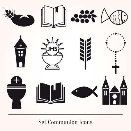 santa cena: Conjunto de ilustración de una comunión representando cristiana tradicional