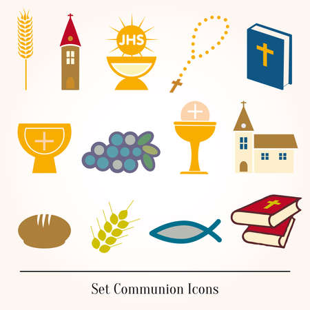 santa cena: Conjunto de ilustraci�n de una comuni�n representando cristiana tradicional