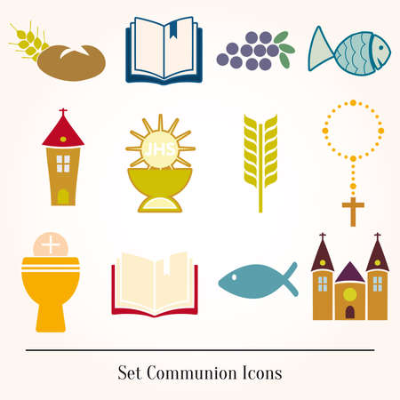 Set Illustration of a communion depicting traditional Christian Vector