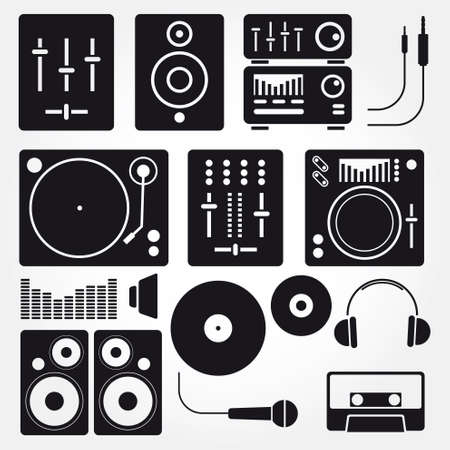 record player: Music icons set