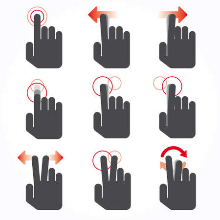 pointing device: Gesture icons for touch devices