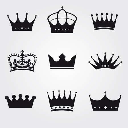 corona reina: monocromo vendimia coronas antiguas - iconos y siluetas