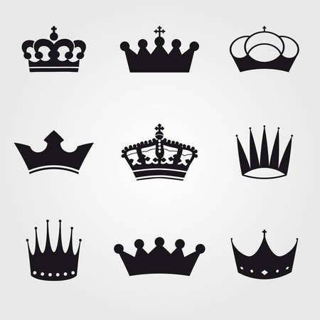 queen crown: monochrome vintage antique crowns - icons and silhouettes