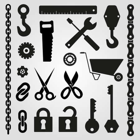 plier: Hand tools - set of vector icons