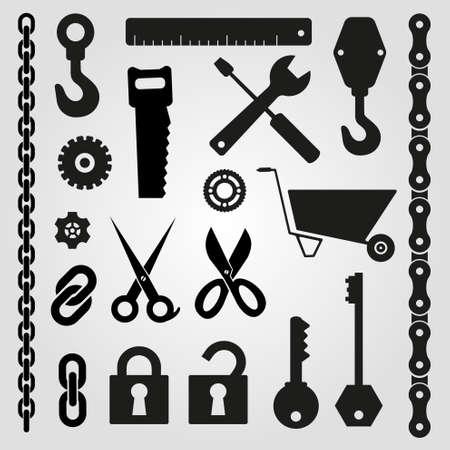 alicates: Herramientas de mano - conjunto de iconos vectoriales
