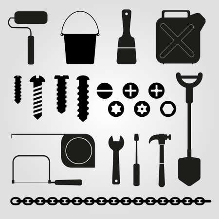 nut bolt: Hand tools - set of vector icons