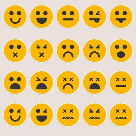 cry icon: Set smileys emoticons vector
