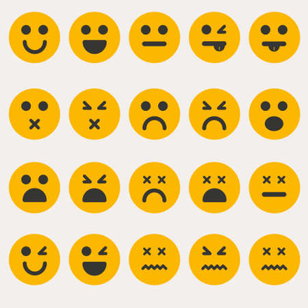 boring: Set smileys emoticons vector