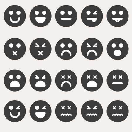 bored face: Set of different emoticons  Illustration