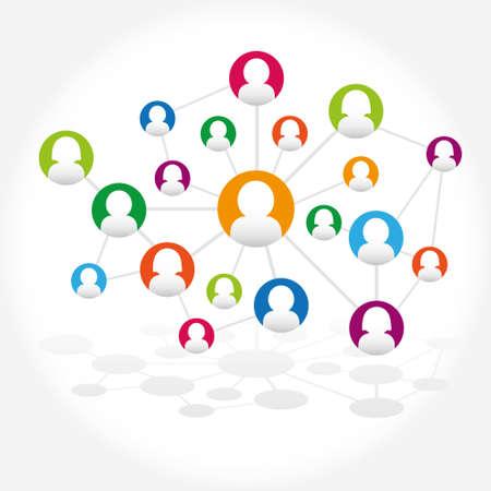 Social network internet chat community communication Illustration