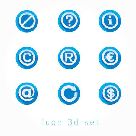 3d icons set flat Vector