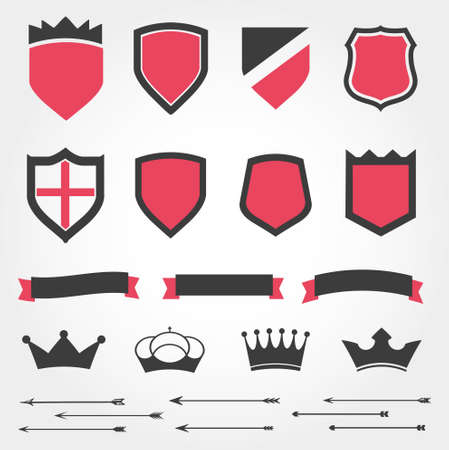 Set vector shields heraldic crowns ribbons arrows Vector