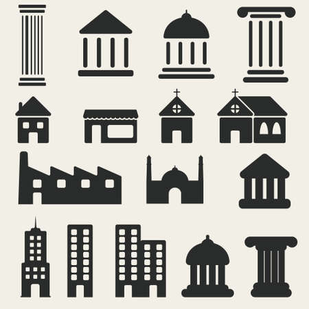 simplus: Edificio Icons Set Vectores