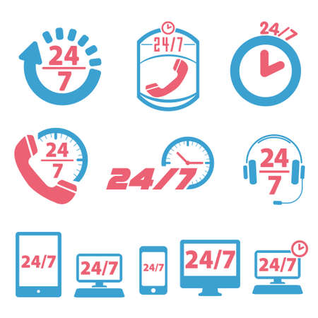 open 24 hours a day and 7 days a week icons Vector