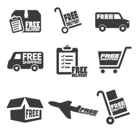 free illustration: Free Shipping icons and buttons pack