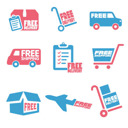 panel van: Free Shipping icons and buttons pack