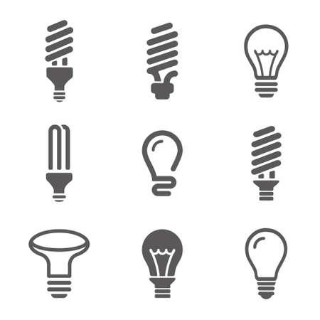 light bulbs: Bombillas icon set Vectores