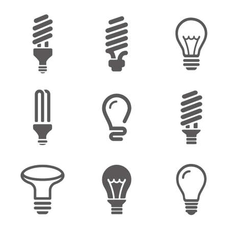 Light bulbs icon set Vector