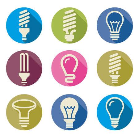 light bulbs: Bombillas. Bulb icon set