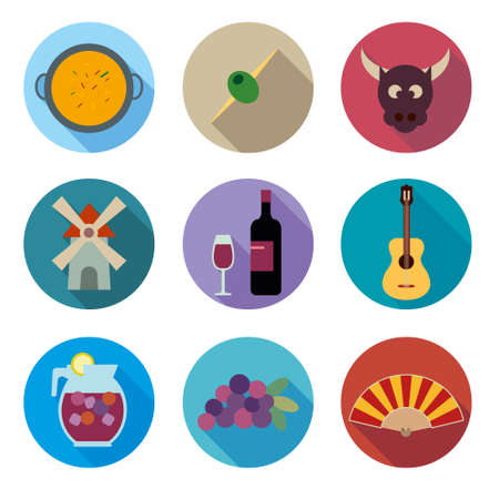 Spain icons set Vector
