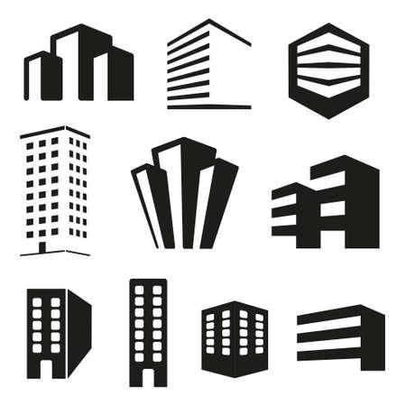 Building real state icons set Ilustração