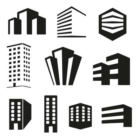 Building real state icons set Illustration