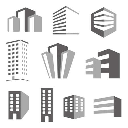 headquarter: Building real state icons set Illustration