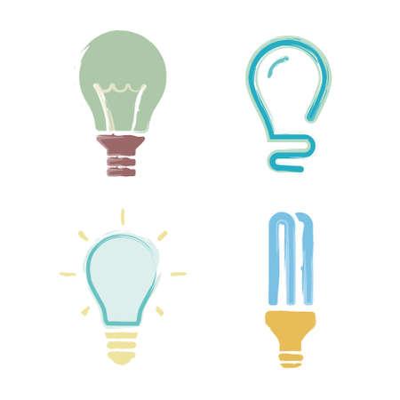 Cartoon set light bulb symbols Vector