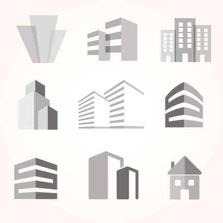 city  buildings: city buildings silhouette icons