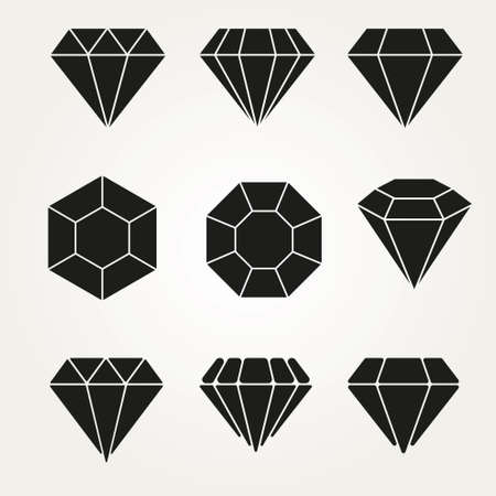 karat: Diamond Vector Icon Symbol Set