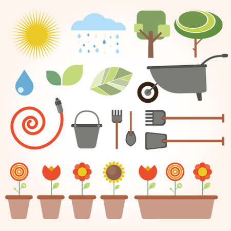 gumboots: set of flat gardening icons