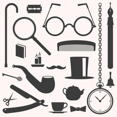 smocking: Gentlemens stuff vintage design elements collection Illustration