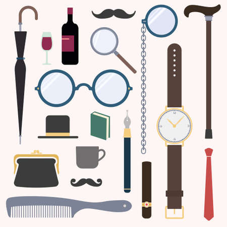 man s: Gentlemens stuff vintage design elements collection Illustration