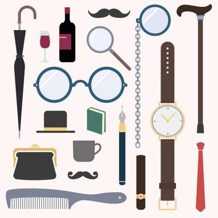 Gentlemens stuff vintage design elements collection Illustration