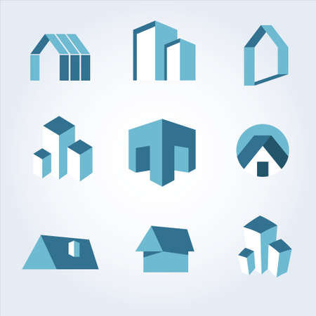 headquarter: Building Real state icons vector set
