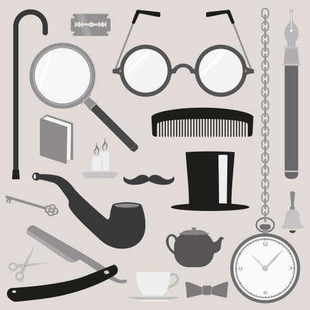 vintage cigar: Gentlemens stuff vintage design elements collection Illustration