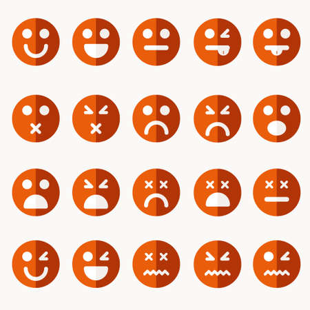 Set of different vector emoticons Ilustração