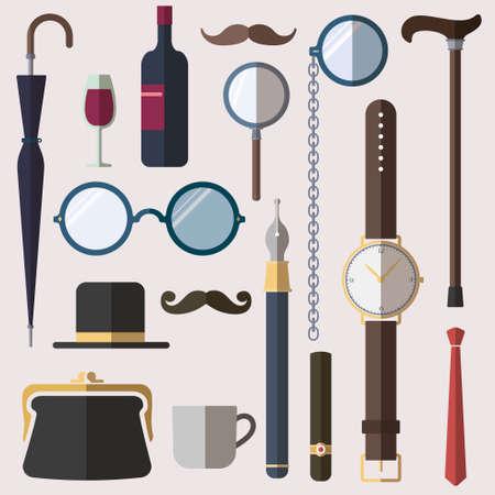 smocking: Gentlemens stuff vintage design elements set