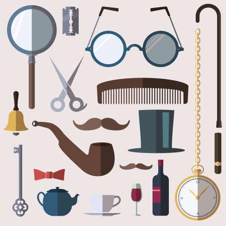 englishman: Gentlemens stuff vintage design elements set