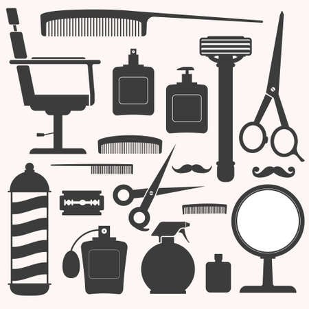 male grooming: Barber and hairdresser related icons set Illustration
