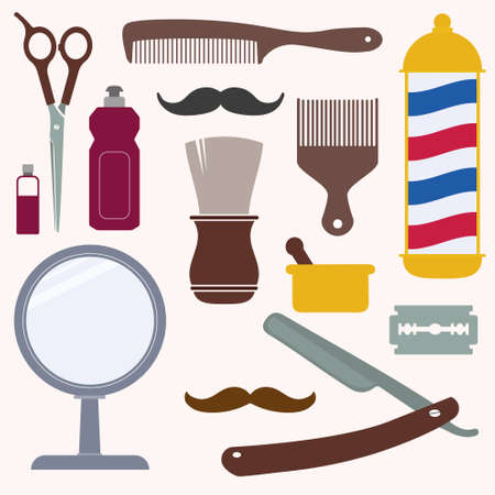 shaving: Barber and hairdresser related icons set Illustration