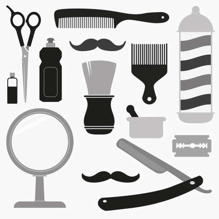 Barber and hairdresser related icons set Vector
