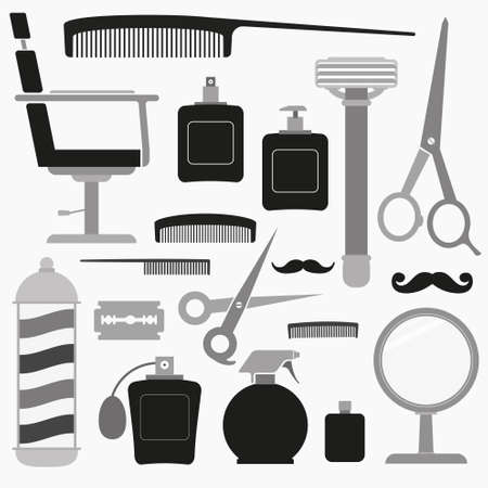 hairstylist: Barber and hairdresser related icons set Illustration