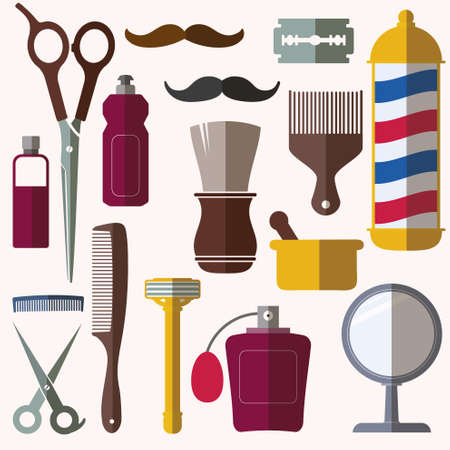 barber pole: Barber and hairdresser related icons set Illustration