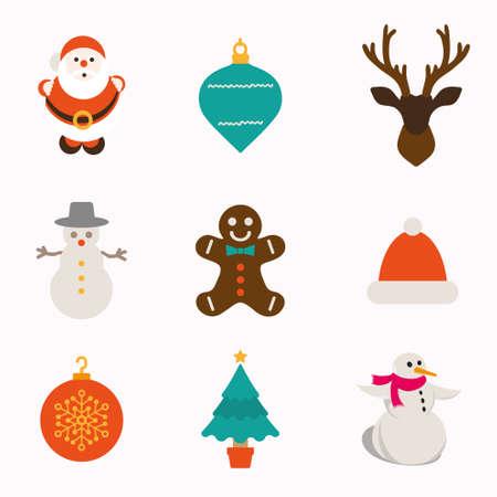 calendario diciembre: Navidad y la colección de invierno iconos Vectores