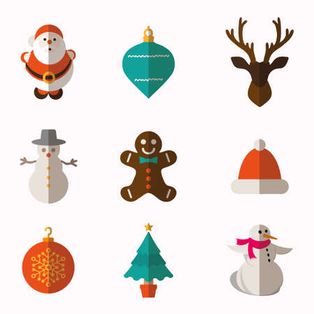 santa helper: Christmas and Winter icons collection Illustration