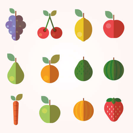 cherry tomato: Fruits and Vegetables Icons Illustration