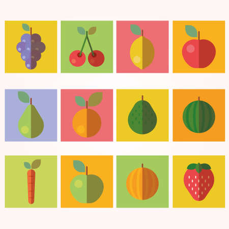 peach blossom: Fruits and Vegetables Icons Illustration
