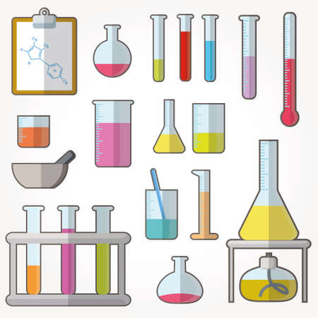 testicles: Chemical test tubes icons illustration vector