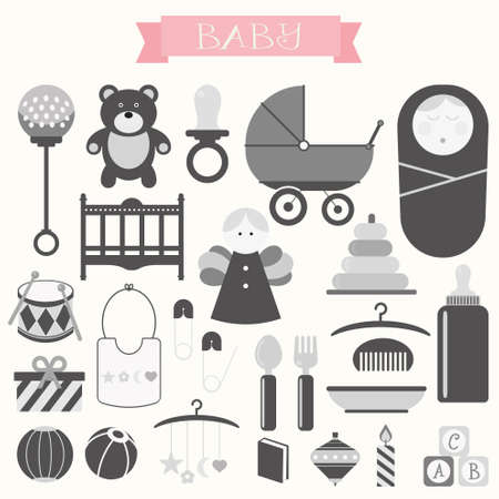 sweet stuff: Vector illustration of babies and baby products